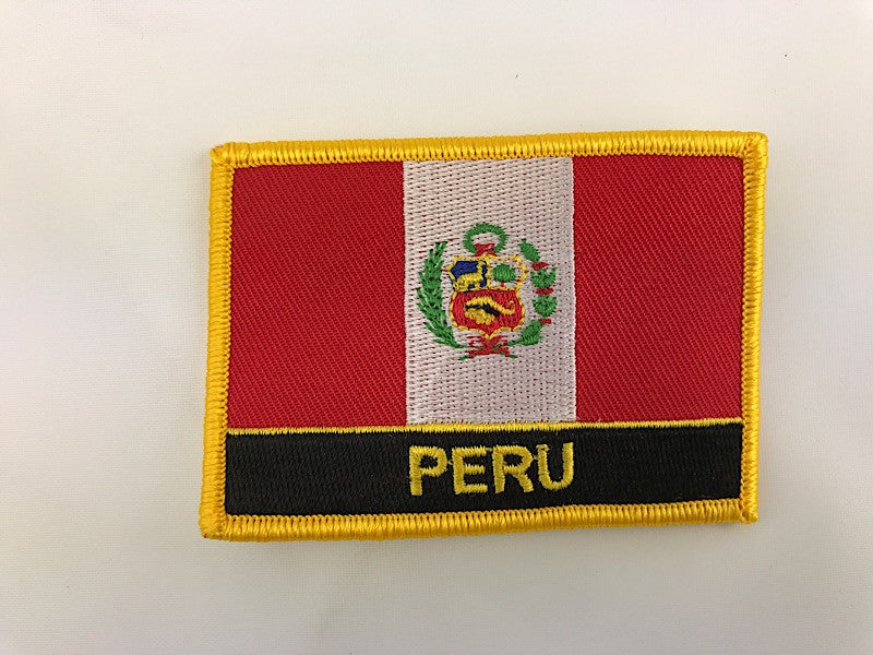 "2 1/4"" X 3"" Peru Flag Embroidered Patch"