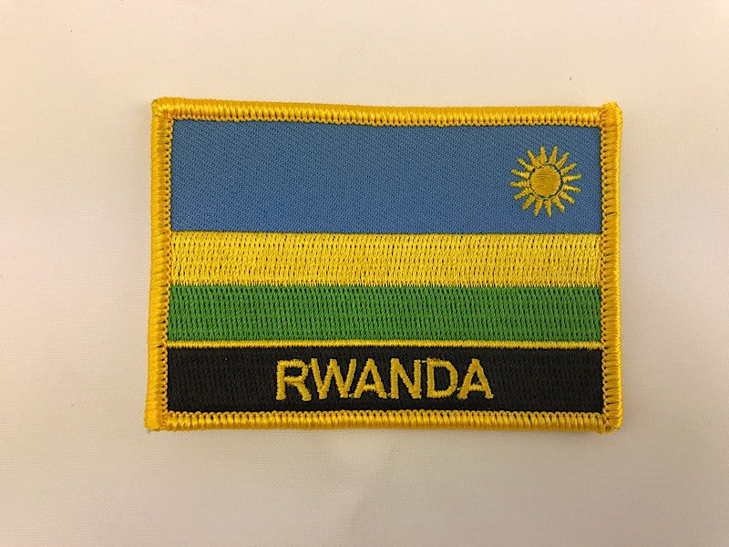 "2 1/4"" X 3"" Rwanda Flag Embroidered Patch"