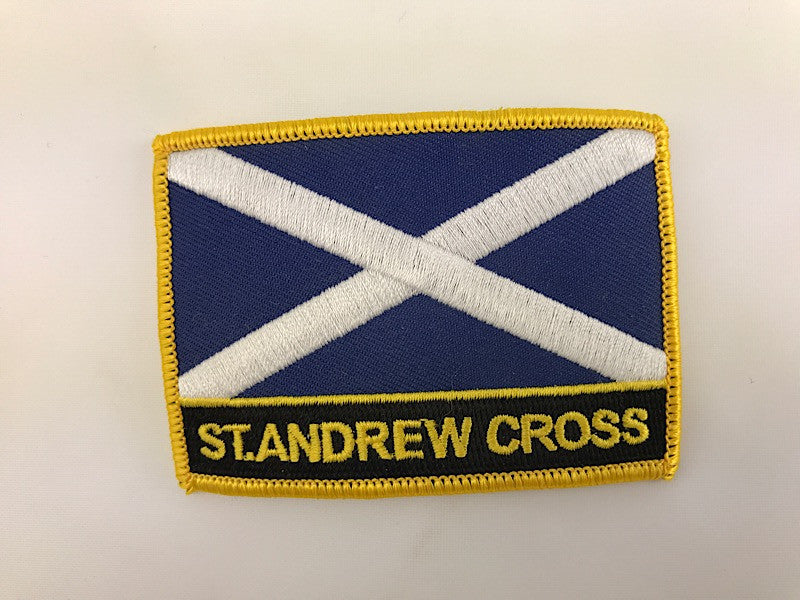"2 1/4"" X 3"" St Andrews Cross Flag Embroidered Patch"