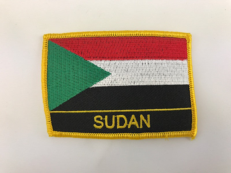 "2 1/4"" X 3"" Sudan Flag Embroidered Patch"