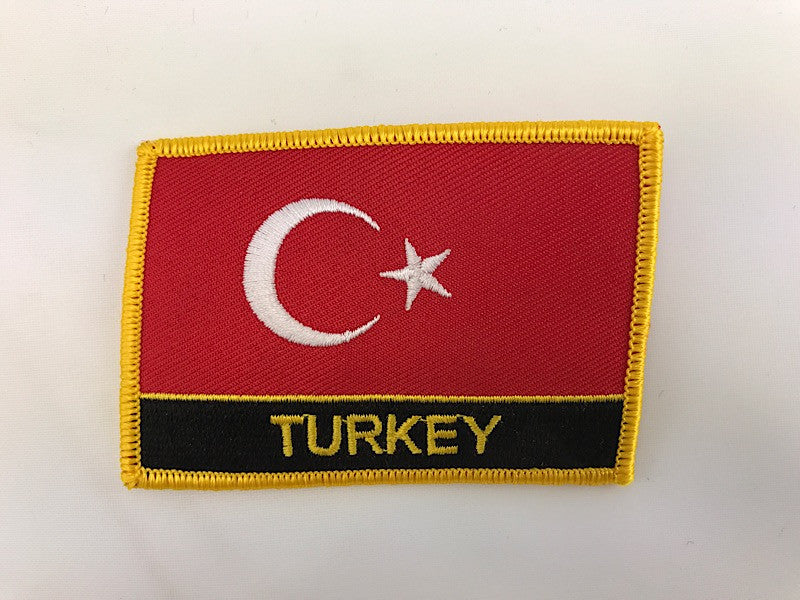 "2 1/4"" X 3"" Turkey Flag Embroidered Patch"