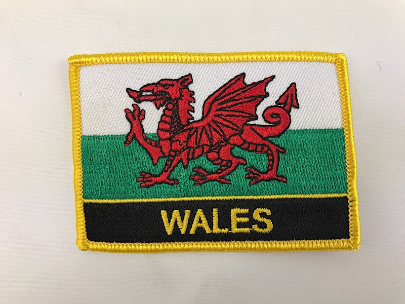 "2 1/4"" X 3"" Wales Flag Embroidered Patch"
