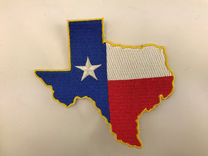 "3 1/2"" X 4""  Texas State With Flag Embroidered Patch"