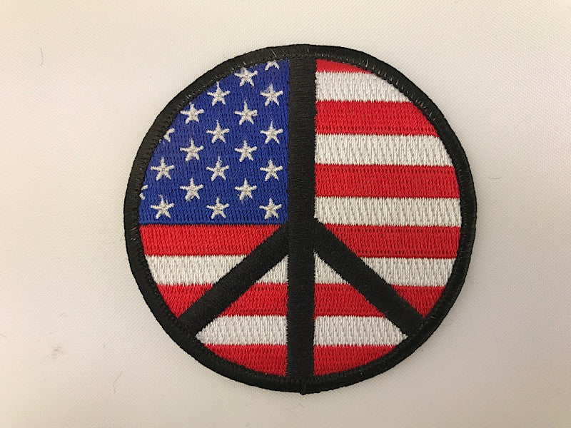 "3"" peace Symbol American Flag Embroidered Patch USA"