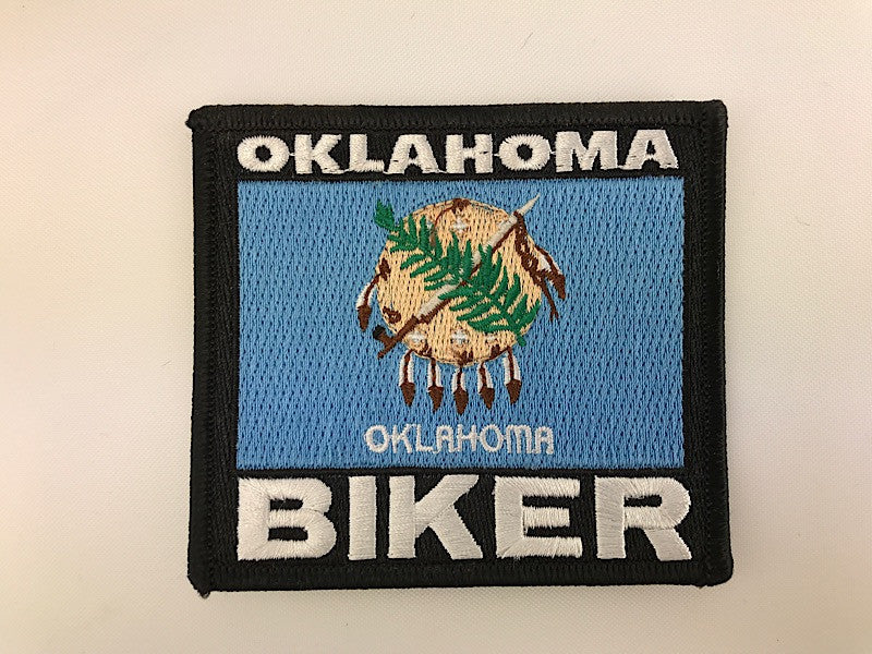 "3 1/4"" X 3 1/2"" Oklahoma Biker Flag Embroidered Patch"