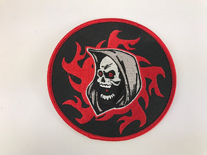 "4"" Grim Reaper With Tribal Flames Embroidered Patch"