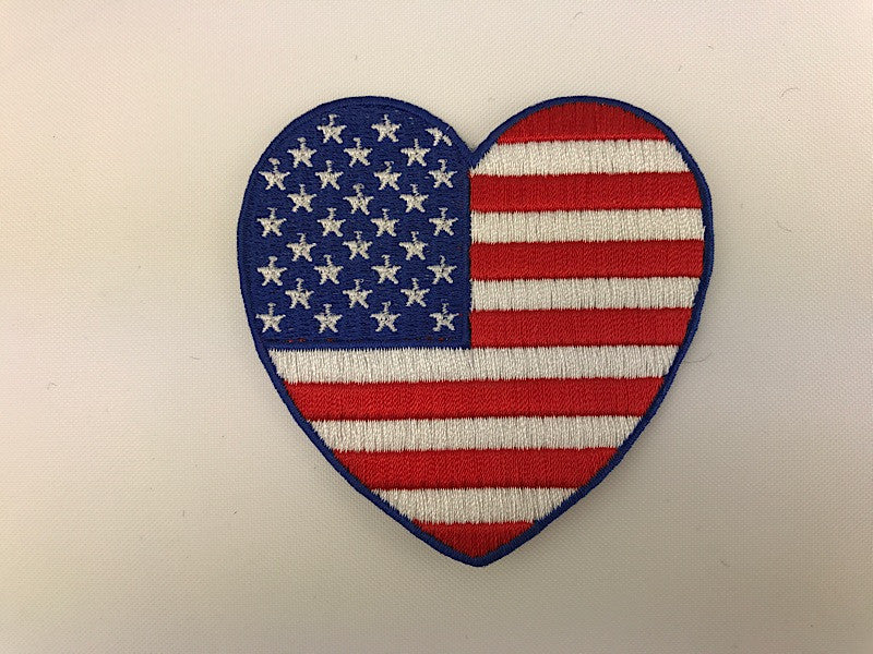 "3"" American Flag Heart Embroidered Patch"