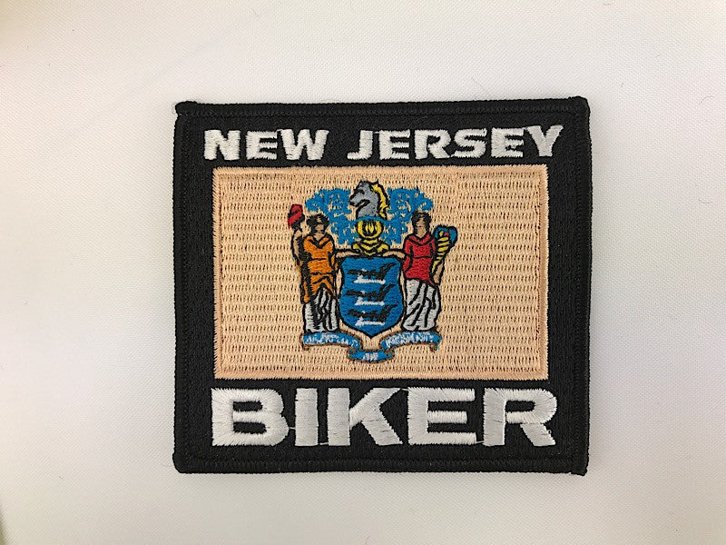 "3 1/4"" X 3 1/2"" New Jersey Biker Embroidered Patch"
