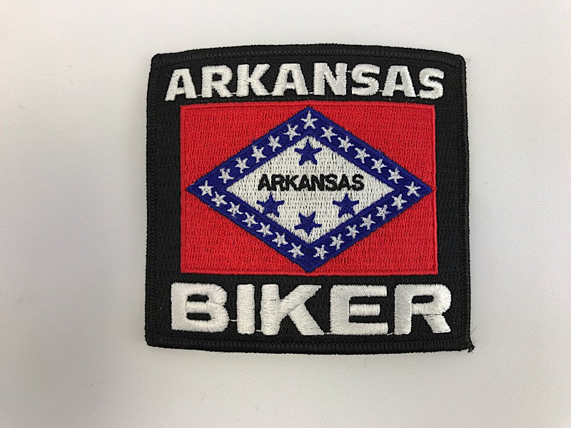 "3 1/4"" X 3 1/2"" Arkansas Biker FLag Embroidered Patch"