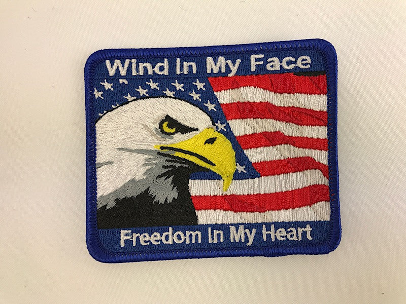 "3"" X 3 1/2"" Wind In My Face Freedom In My Heart Embroidered Patch"