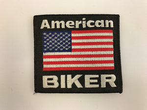 "3 1/4"" X 3 1/2"" American Biker Flag Embroidered Patch"