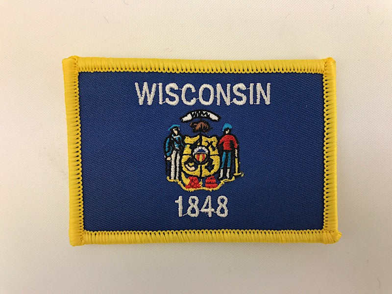"2 1/4"" X 3 1/4"" Wisconsin State Flag Embroidered Patch"