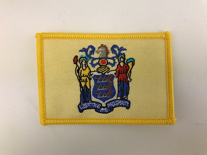 "2 1/4"" X 3 1/4"" New Jersey State Flag Embroidered Patch"