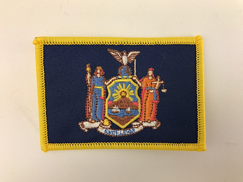 "2 1/4"" X 3 1/4"" New York State Flag Embroidered Patch"