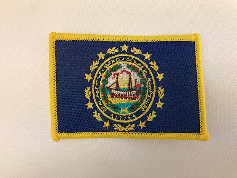 "2 1/4"" X 3 1/4"" New Hampshire Flag Embroidered Patch"