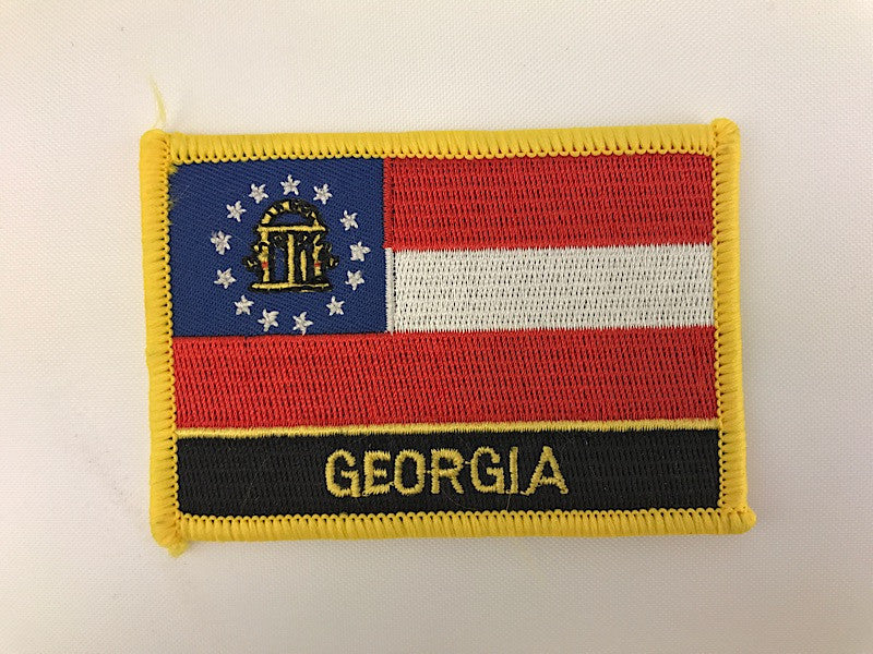 "2 1/4"" X 3 1/4"" Georgia State Flag Embroidered Patch"