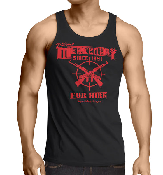 Deadpool tank top Inspired -Wilsons Mercenary For Hire Tank top black chimichangas - Secret Level Clothing