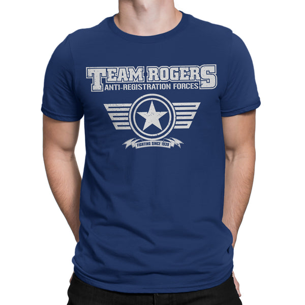 Team Captain America T Shirt Inspired- TEAM ROGERS (Infinity War) Tee Shirts Navy Blue - Secret Level Clothing