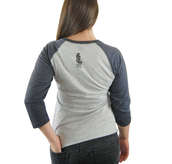 "Star Wars Empire baseball shirt-inspired ""EMPIRE"" womens baseball tee charcoal grey - Secret Level Clothing"