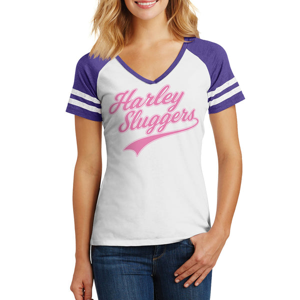 "Harley Quinn T shirt inspired - Suicide Squad ""Harley Sluggers"" baseball Tee shirt Purple - Secret Level Clothing"