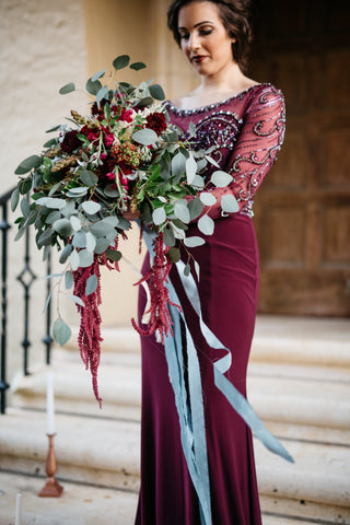Casie Marie Photography - A Ribbon's Nest Hand Dyed Silk Ribbons - Styled Photo Shoot - Marsala Wedding Color