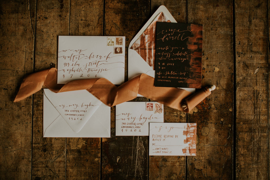 fall wedding inspiration using copper hand dyed silk ribbon from a ribbon's nest