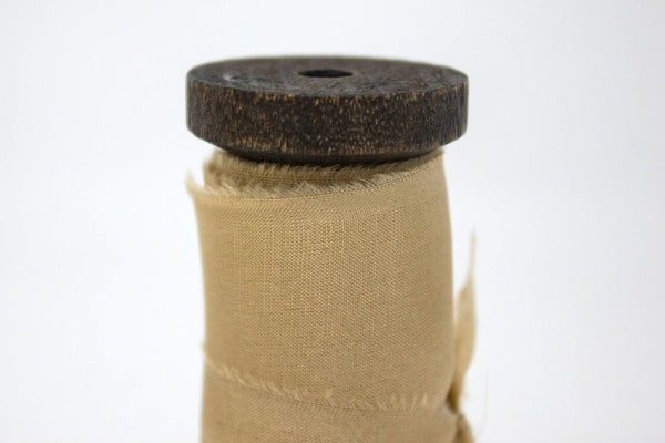 neutral hand dyed silk ribbon with frayed edges