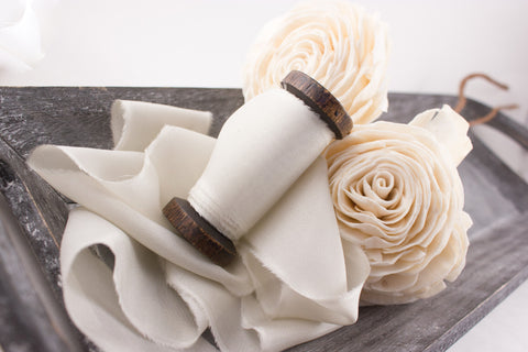Ivory-Seamless-Silk-Ribbon-Weddings-Habotai-Gift-Wrap-Decor-Packaging | A Ribbon's Nest