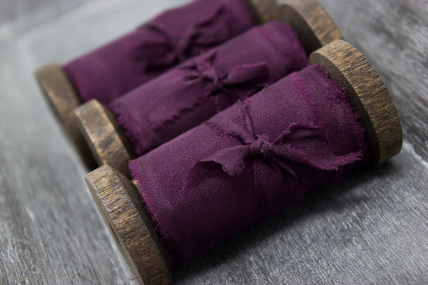 Purple Silk Hand Dyed Ribbon from A Ribbon's Nest