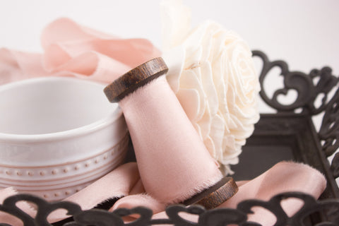Blush-Pink-Wedding-Bouquet-Hand-Dyed-Silk-Ribbon | A Ribbon's Nest