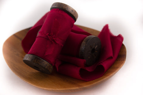 Cranberry Red Hand Dyed Silk wedding ribbon for bouquets and photography styling | A Ribbon's Nest