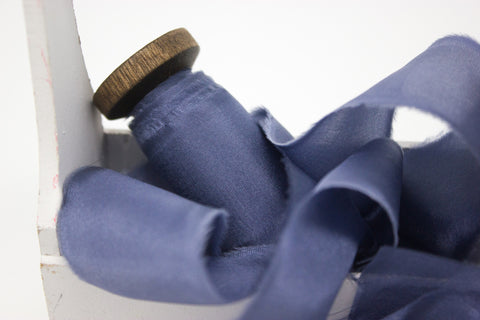 dark blue habotai silk ribbon for weddings, bouquets, photographers