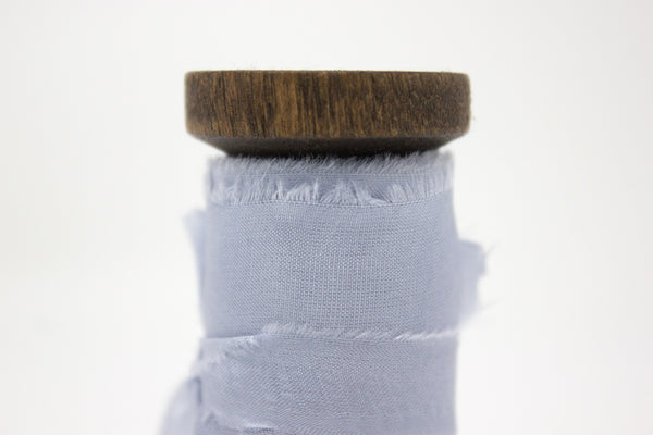 blue grey hand dyed silk ribbon for weddings, bouquets, florists