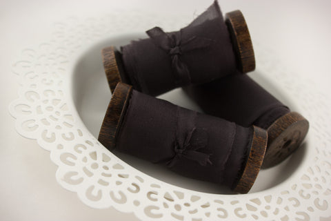 Dark-Gray-Silk-Ribbon-For-Weddings-Gift-Wrap-Bouquets-Home-Decor-From-A-Ribbon's-Nest