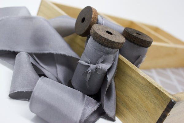 grey hand dyed silk ribbon