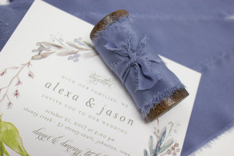 blue silk ribbon for bridal bouquets from a ribbon's nest