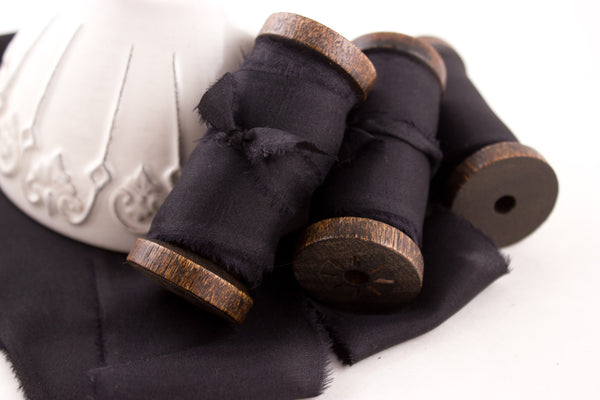black bouquet ribbon - silk - hand dyed - weddings | A Ribbon's Nest