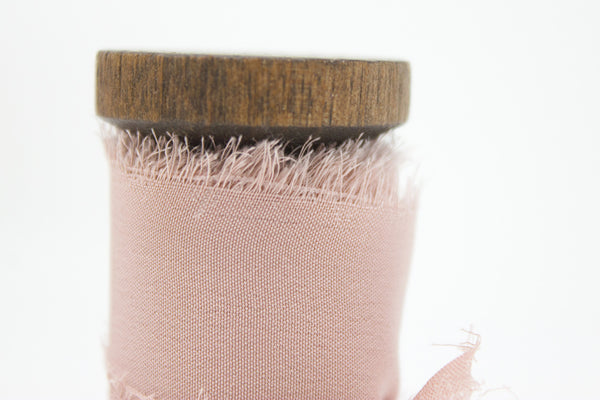 crepe de chine hand dyed silk ribbon in Blush from a ribbon's nest