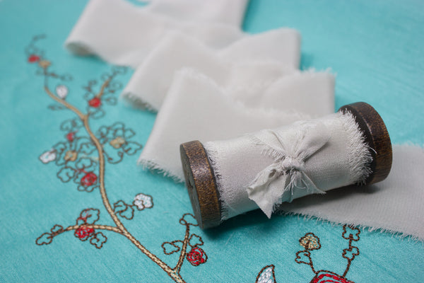 grey bouquet ribbon for weddings and florists from a ribbon's nest