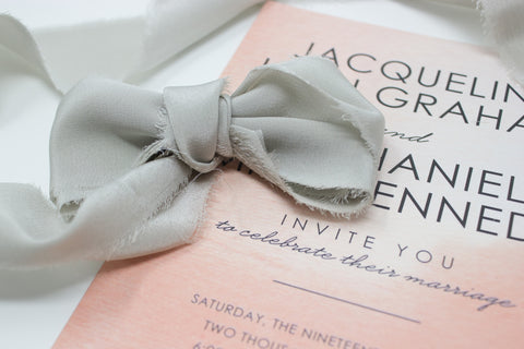 light gray hand dyed silk ribbon for photographers, weddings, bouquets from a ribbon's nest