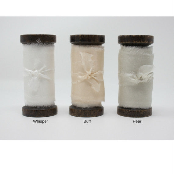 white hand dyed silk ribbons, cream, ivory from A Ribbon's Nest
