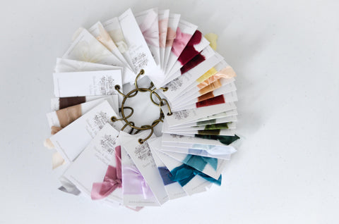 a ribbon's nest hand dyed silk ribbon sample set