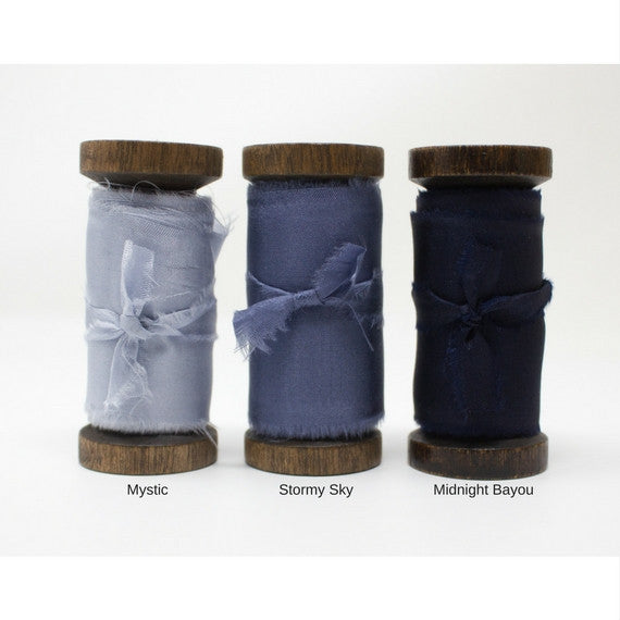 dusty blue silk ribbon with feathered edge from A Ribbon's Nest