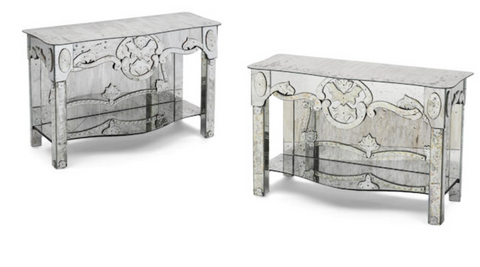 A PAIR OF ITALIAN ENGRAVED MIRRORED CONSOLES US$ 15,000 - 20,000