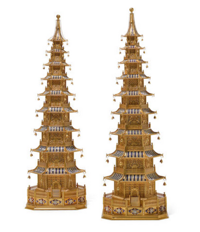 A PAIR OF IMPRESSIVE GILT BRONZE 'JEWELED' PAGODA FORM LAMPS  20TH CENTURY US$ 25,000 - 35,000