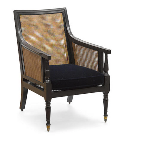 AN ANGLO-INDIAN EBONY AND CANE PANELED BERGÈRE  SECOND QUARTER 19TH CENTURY