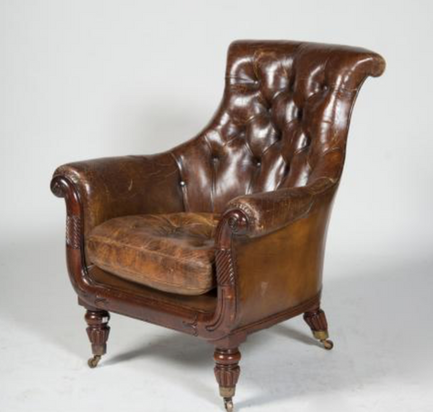 VICTORIAN CARVED MAHOGANY LEATHER TUFTED ARMCHAIR