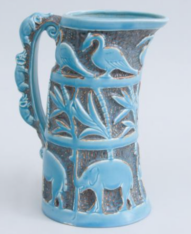 ENGLISH BURLEIGHWARE SKY BLUE GROUND POTTERY PITCHER
