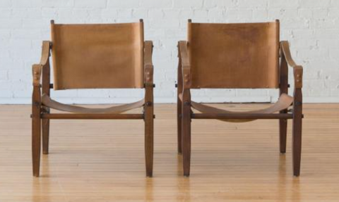 Folding Chair Company Pair of Stained Beech Chairs