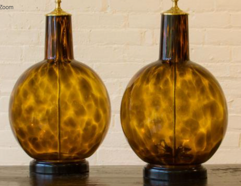 "Pair of ""Tortoiseshell"" Glass Lamps"